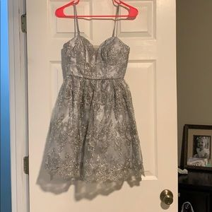 Silver beaded homecoming dress! Size 1 - 2